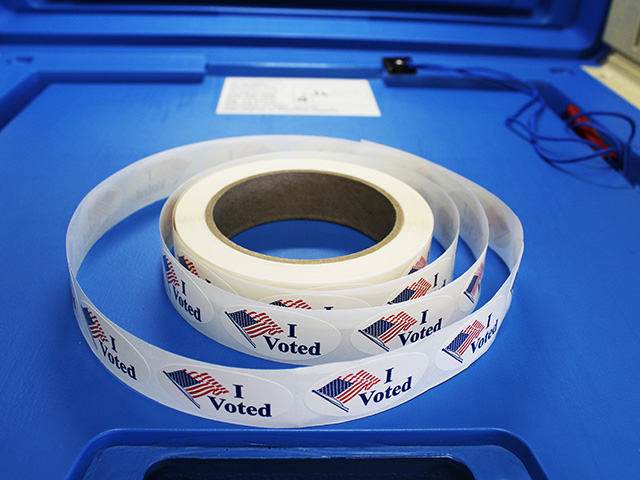 """I Voted"" stickers in a voting booth"