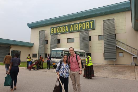 Paul and Anu on arrival in Bukoba.