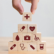 Building blocks with medical symbols