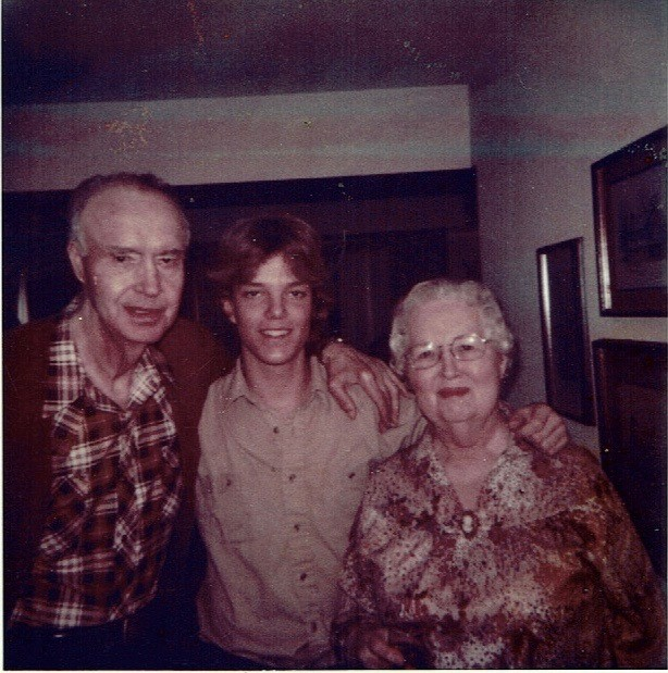 Paul with his maternal grandparents (circa 1980).