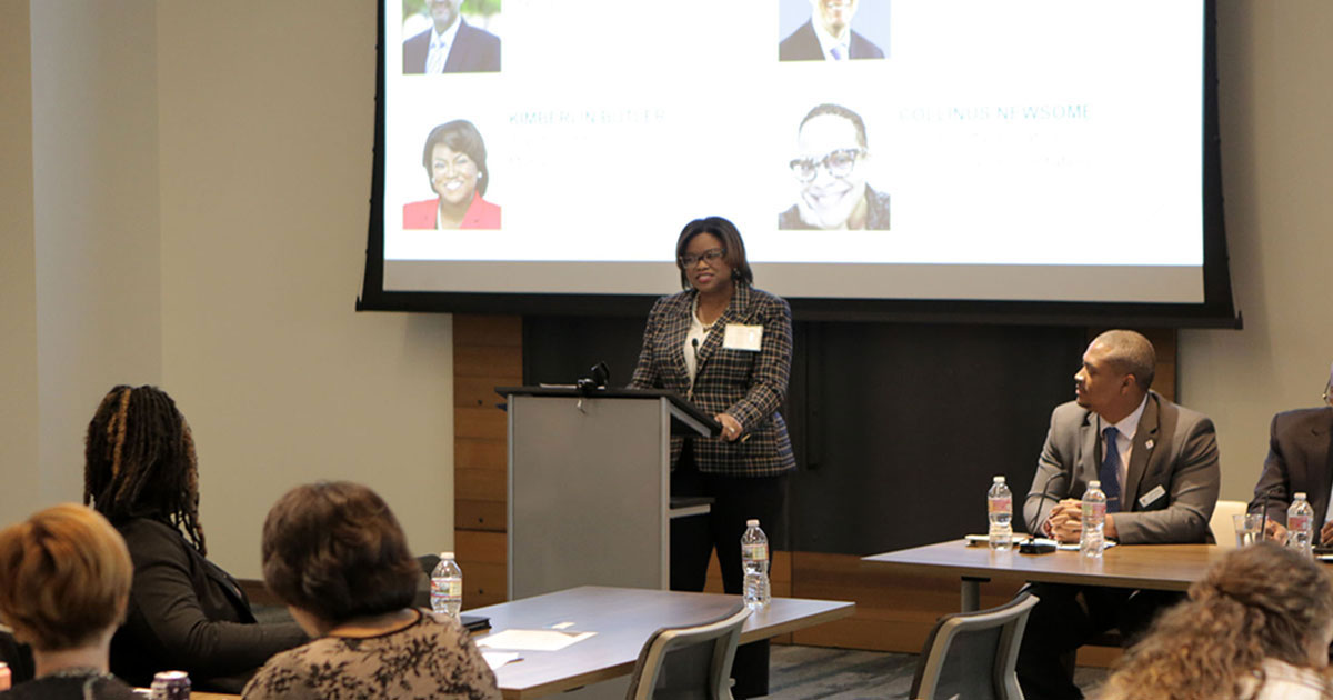 Kimberlin Butler, director of foundation engagement providing opening remarks at the convening. Photo by Rich Clement