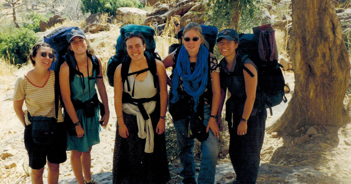 So (pictured on the far right) hiking with fellow Peace Corps volunteers in the Dogon Country of Mali in 2000