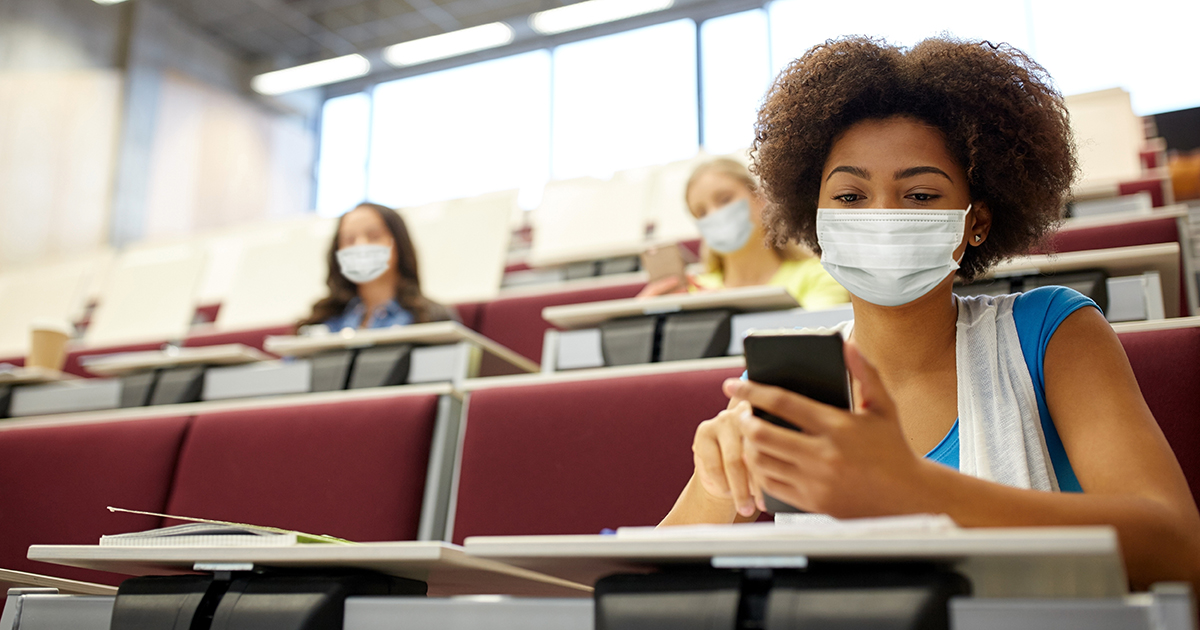 College students in class during the pandemic
