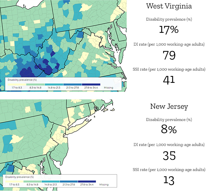 Comparison of the prevalence of disability in New Jersey and West Virginia