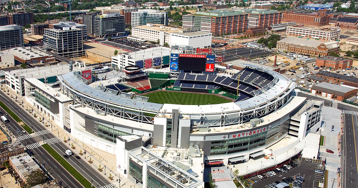 Arial view of Nationals Park and the surrounding neighborhood in Washington, D.C. Photo Courtesy of Carol M. Highsmith and the Library of Congress.