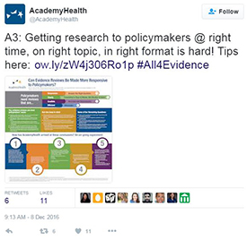 Academy Health all4evidence tweet