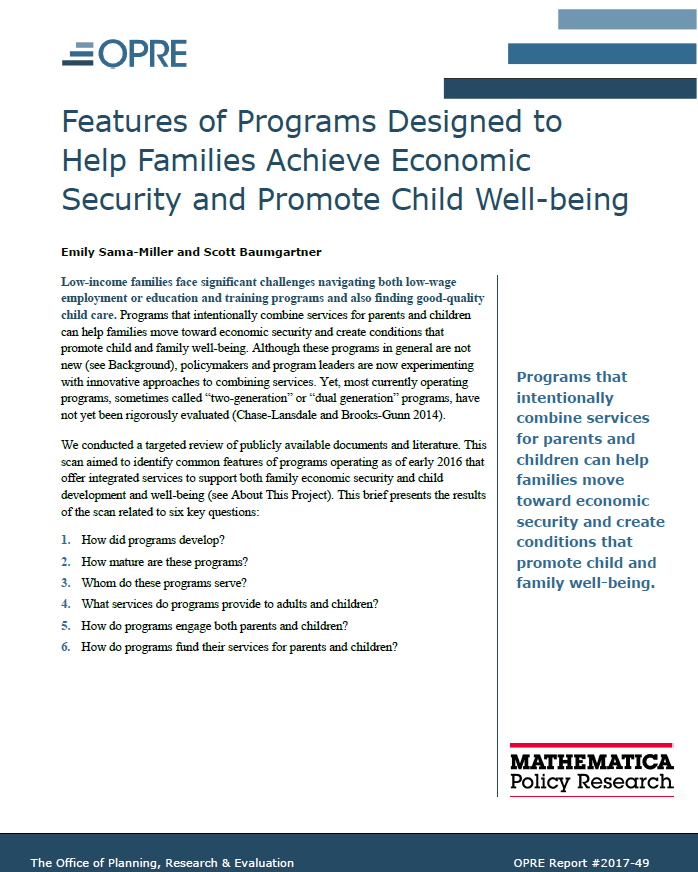 Features of Programs Designed to Help Families Achieve Economic Security and Promote Child Well-Being,""