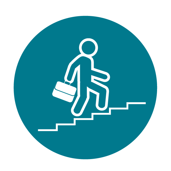 Person with briefcase going up stairs