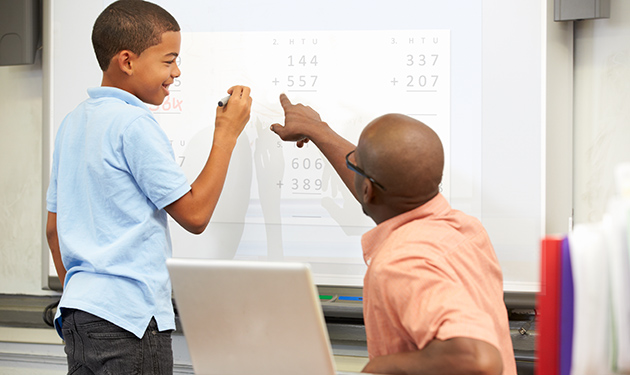 male teacher with student