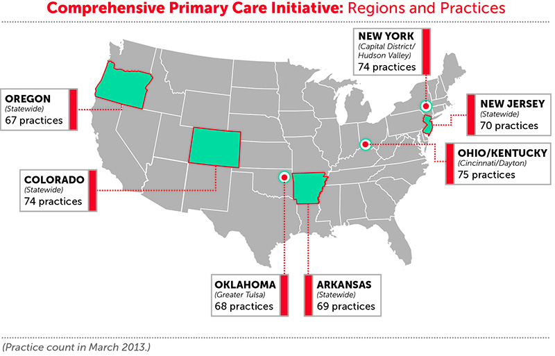Comprehensive Primary Care Initiative Regions and Practices