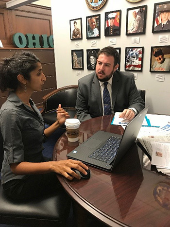 Mathematica's Aparna Keshaviah provides a demo of the S.T.Op NextGen dashboard to a health policy advisor within Congressman Steve Stivers' office.