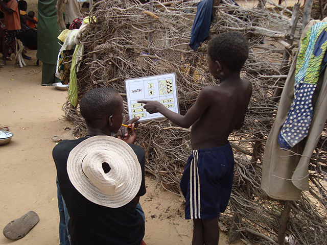 Interviewing children in Niger.