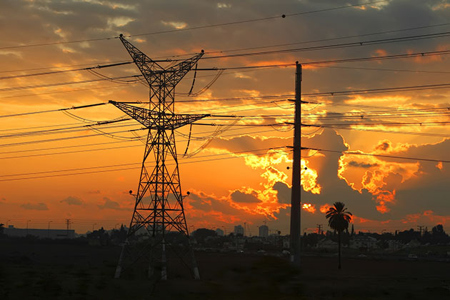 electrical lines in African landscape