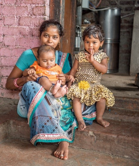Mother and children in India