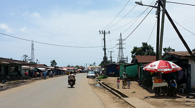 Liberian street scene with electric wires
