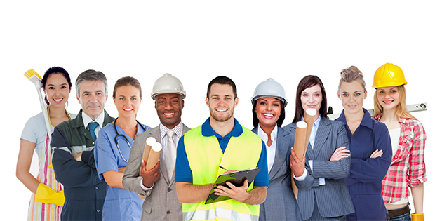 Group of workers from different professions standing