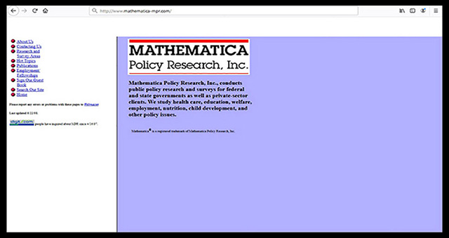 Screenshot of Mathematica's website in 1998