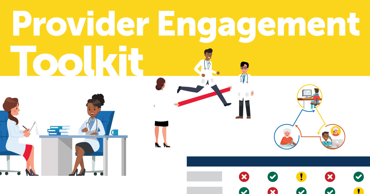 """Provider Engagement Toolkit"" and illustrations of various medical providers."
