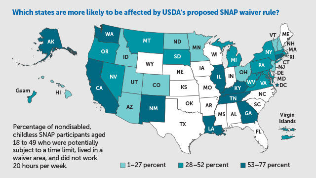 Map of states that participate in SNAP