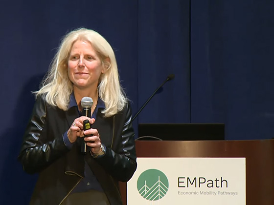 Michelle Derr speaks about Rapid Cycle Redesign at the Disrupting the Poverty Cycle Conference 2018 on Friday, November 2. (Source: University of Massachusetts-Boston YouTube channel.)