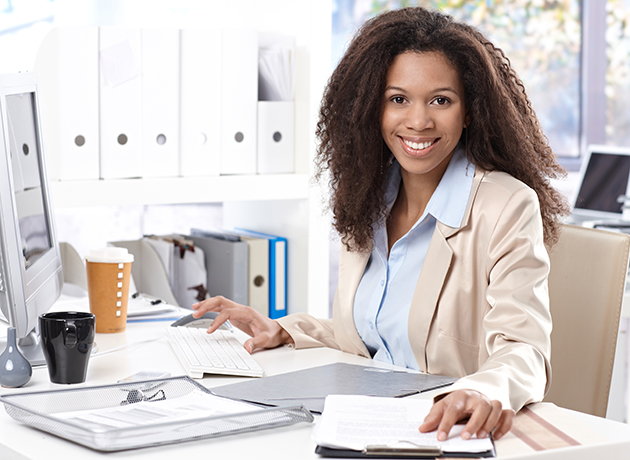 african american woman at computer